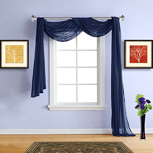 Warm Home Designs Standard Length Navy Blue Sheer Window Scarf. All Premium Valance Scarves are 54 X 144 Inches in Size and are Great Window Accessory for Any Home. Color: - Dark Blue Gray