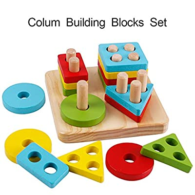 Wooden Educational Stacking Blocks Toys Geometry Shape Sorting Puzzles Board Games for Preschool Kids Toddlers