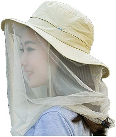 Enkrio Outdoor Sun Hat Flap Hats UPF 50 360 Degree Solar Protection Sun Cap with Neck Face Mesh Mask Caps Anti-Mosquito Hat Wide Brim for Women