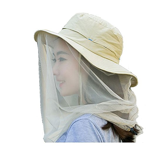 (Enkrio Outdoor Sun Hat Flap Hats UPF 50+ 360 Degree Solar Protection Sun Cap with Neck Face Mesh Mask Caps Anti-Mosquito Hat Wide Brim for Women (Beige))