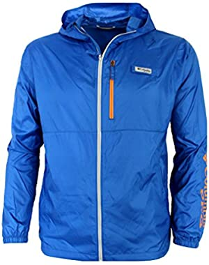 Men's PFG Morning View Omni Shade UPF 40 Hooded Full Zip Jacket Blue/Orange