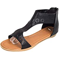 Nevera Women's Summer Solid Open Toe Zipper Flat Cut Out Gladiator Sandals Black