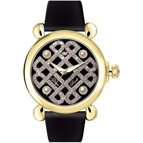Glam Rock Women's Vintage 40mm Black Leather Band Gold Plated Case Swiss Quartz Analog Watch GR28038