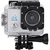 Acouto Sports Action Camera,4k 12MP front Flash Camcorder 140°Angle with Remote Controller,Waterproof Housing Case,Adapter Bracket,USB Cable,US Plug and more Accessories Kits (Silver)