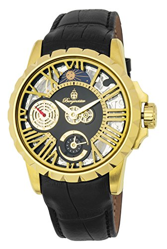 Burgmeister Men's Mechanical Hand Wind Stainless Steel and Leather Casual Watch, Color:Black (Model: BM237-202)