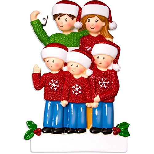 Personalized Selfie Family of 5 Christmas Tree Ornament 2019 - Take Self-Portrait Photo Smartphone Share via Social Media Hug Memory Ugly Sweater Winter Year - Free Customization (Family Cat Christmas Portrait)