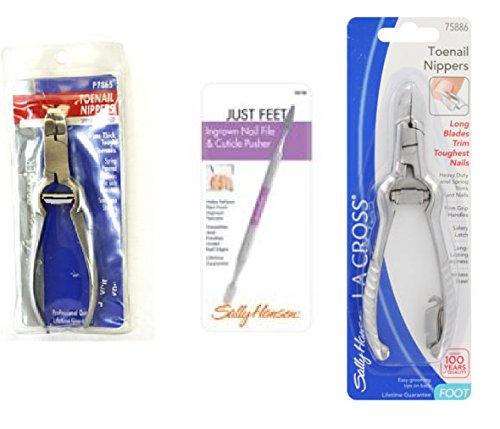 (Sally Hansen LA Cross Toenail Nippers P7865 + Ingrown Nail File Cuticle Pusher 58158 + Long Toenail Nippers 75886)