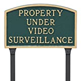 Montague Metal Products 10'' x 15'' Property Under Video Surveillance Statement Plaque & 23'' Stake, Green/Gold