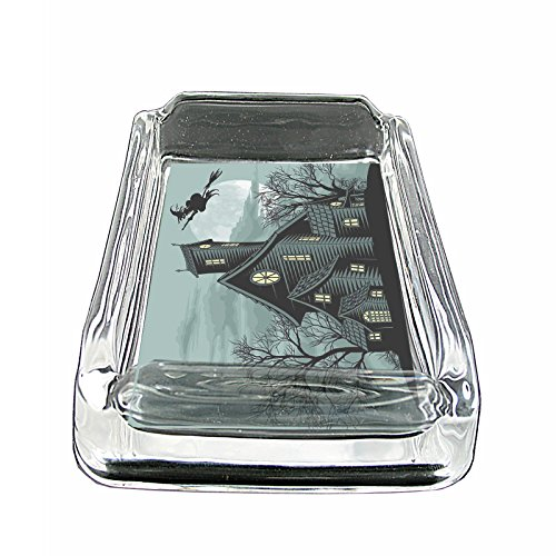 Perfection In Style Glass Square Ashtray Vintage Halloween Design 021