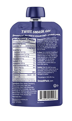 SmashPack Sports Nutrition, Fruit & Protein Performance Pack (5oz pack- 6 packs) (Mixed Berry)