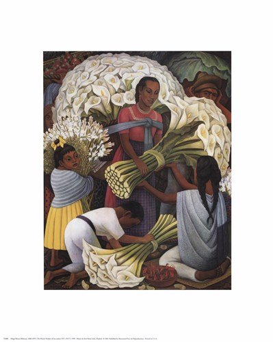 Flower Vendor by Diego Rivera - 16x20 Inches - Art Print Poster