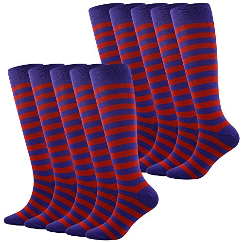 Patterns Skirt Skating (Football Soccer Socks, SUTTOS Men and Women Over the Calf Indoor Outdoor Sports Team Compression Knee-High Soccer Socks with Stripes,10 Pairs)
