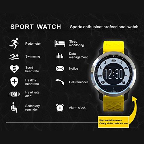 F69 Impermeable Reloj Inteligente Profesional IP68 natación Modo Saludable Ritmo cardíaco Smartwatch para iOS Android teléfono (Amarillo)