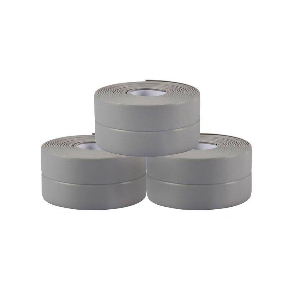 Dulcii 3 Rolls Tub and Wall Caulk Strip, Kitchen Caulk Tape Bathroom Wall Sealing Tape Waterproof Self-Adhesive Decorative Trim, 1.5''(W) x 10.5'(L), Grey by Dulcii