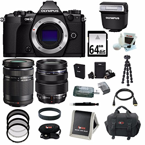 Olympus OM-D E-M5 Mark II Camera Body (Black) with ED 12-40mm f/2.8 Pro Lens + ED 40-150mm f/4.0-5.6 R Lens + 64GB Deluxe Accessory Bundle