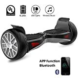 "EVERCROSS Shadow Hoverboard Electric Self Balancing Scooter – LG battery All-Terrain 8.5"" Alloy Wheel, Bluetooth&App 400W Dual-Motor, UL2272 Certified, Off-Road Hoverboard"