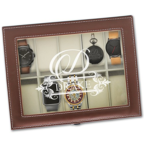 - Custom Personalized Watch Storage Box Glass Display Case Gift for Men, Him, Husband - Engraved and Monogrammed for Free (Brown)