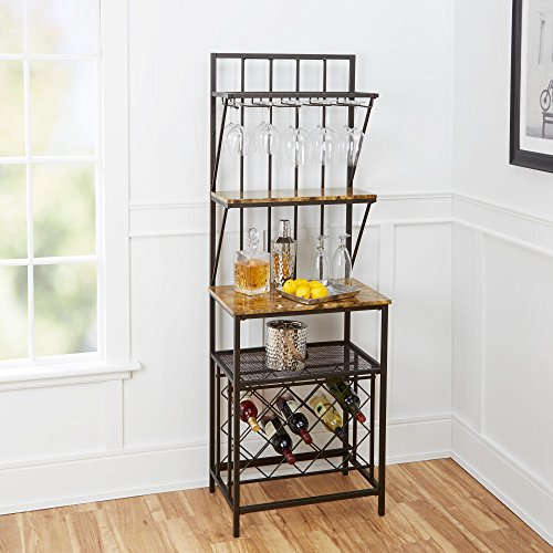 Home Indoor Furniture Faux Marble Shelf Bakers Rack Wine Bottle Kitchen Stand Metal Wood With Wine Bottle Storage antique brass built-in glass holders kitchen dining room home bar 37Lx27.5Wx5.38HIn (Wine Rack For Dining Room)