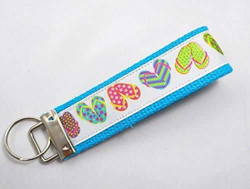 (Flip Flop Ribbon Wristlet Key Fob Keychain Turquoise)