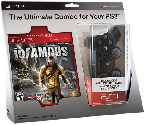inFAMOUS and Black DualShock 3 Wireless Controller Bundle - Playstation 3 (Infamous Ps3 Controller)
