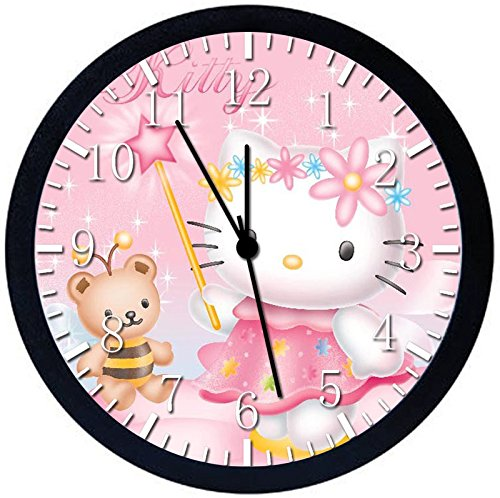 Pink Hello Kitty Black Frame Wall Clock