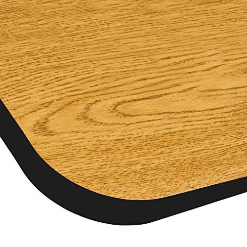 ECR4Kids Mesa T-Mold 24'' x 48'' Rectangular School Activity Table, Standard Legs w/ Swivel Glides, Adjustable Height 19-30 inch (Oak/Black) by ECR4Kids (Image #1)