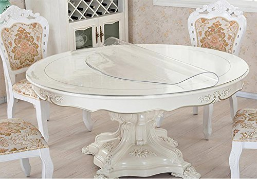 Clear Round Table Protector Round Furniture Protector Circle Clear Plastic Round Tablecloth Vinyl Waterproof Wipeable PVC for Round Dining Table Top Cover Desk Mat Pad 72'' 72 Inch 183 CM Diameter by BigHala (Image #5)