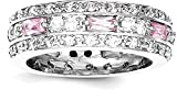 ICE CARATS 925 Sterling Silver Pink Clear Cubic Zirconia Cz Wedding Ring Band Size 6.00 Fancy Fine Jewelry Gift Set For Women Heart