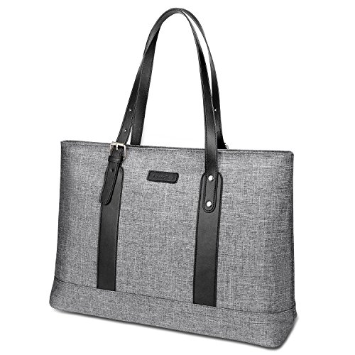 Utotebag Women Laptop Tote Bag, 15.6 Inch Notebook Ultrabook Shoulder Bag Lightweight Nylon Briefcase Classic Handbag Handle Adjustable Work Travel Business Bag (Grey)