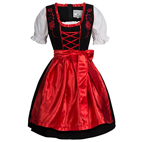 Costume Girl German Pattern Beer (Gaudi-leathers Women's Set-3 Dirndl Pieces Embroidery 44)