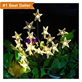 Danmily Outdoor Solar Garden Stake Lights Solar Star Lights Multi-Color Changing LED Lily Solar Powered Lights for Patio,Yard Decoration,Bigger Stars and Wider Solar Panel (Warm Yellow)