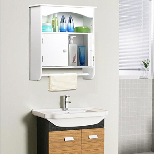 Topeakmart White Wood Bathroom Wall Mount Cabinet Toilet Medicine Storage Organizer Bar by Topeakmart (Image #1)