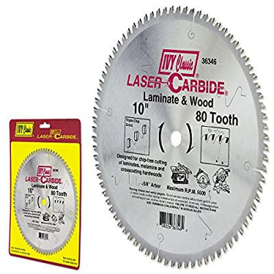 IVY Classic 36346 Laser Carbide 10-Inch 80 Tooth Laminate/Wood Cutting Circular Saw Blade with 5/8-Inch Arbor, 1/Card