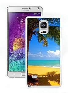 Palm Tree Golden Beach Seaside White Samsung Galaxy Note 4 Hard Plastic Phone Cover Case