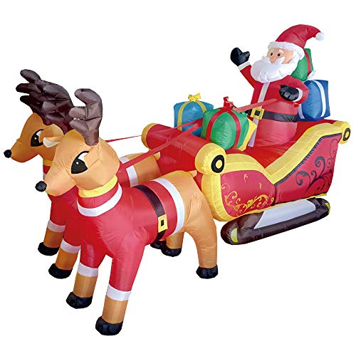 - Phoenixreal 7 Foot Christmas Inflatables Santa on Sleigh, Airblown Inflatable Santa with Gifts on Sleigh Pulled by Reindeers, Lighted for Home Outdoor Yard Lawn Decoration