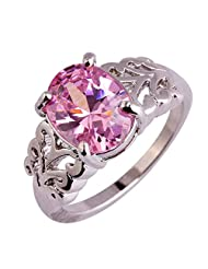 LingMei Vintage Style Carving Oval Cut Pink Stone Silver Plated Women's Costume Ring US Size