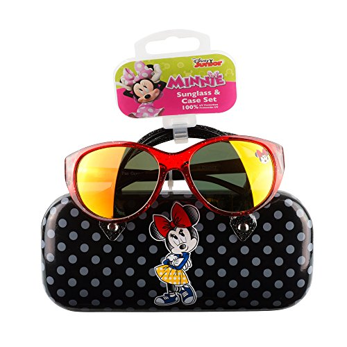Minnie Mouse Girls Sunglasses & Hard shell Carrying Case Set - 100% UV Protection for (Young Girl)