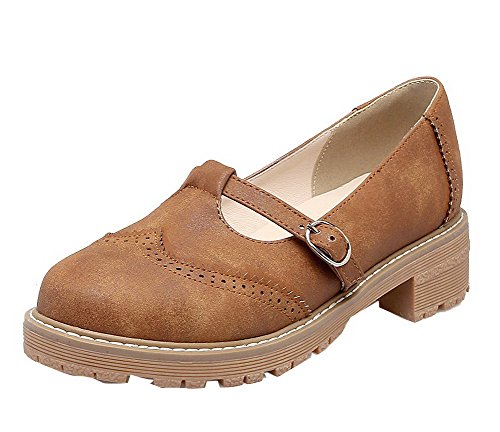 VogueZone009 Women's Round Closed Toe Low-Heels PU Solid Pull-On Court Shoes Brown EYvvOMx6xe