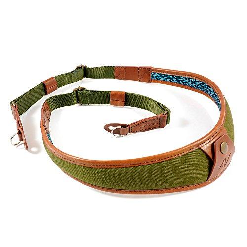 4V Design ALA Handmade Leather & Canvas Camera Strap w/Metal Ring Fit Kit, Green/Brown (2ALLRCV2723)