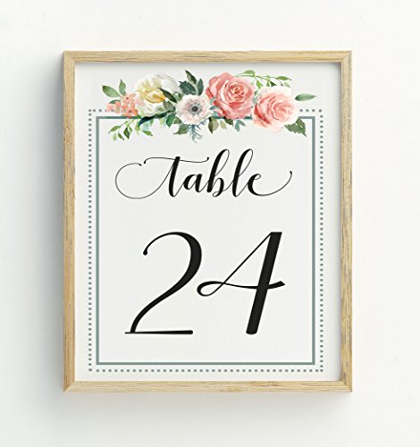 Darling Souvenir Calligraphy 1-50 Floral Table Numbers Wedding Reception Décor Table Cards (4x6 (Reception Table)