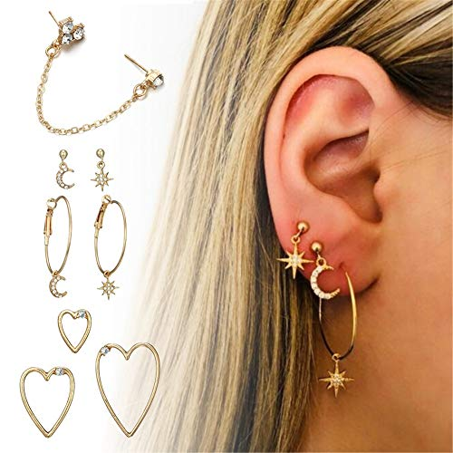 - 2018 Trendy Earring for Women Rhinestones Inlay Dangle Set Lady Alloy Earrings Ear Stud Kit Handmade Gifts for Her(#3)