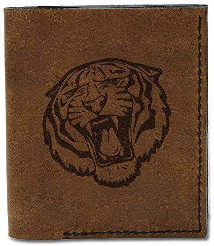 04 2 Men's Tribal Tiger Handmade Abstract Tiger Tribal Genuine b Wallet MHLT Leather Natural Abstract axrOawq