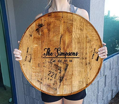 Personalized Last Name Barn Wedding Guest Book Alternative Whiskey Barrel Gift Man Cave Wall Decor Natural Wood Brown 22 inch Wall Decor