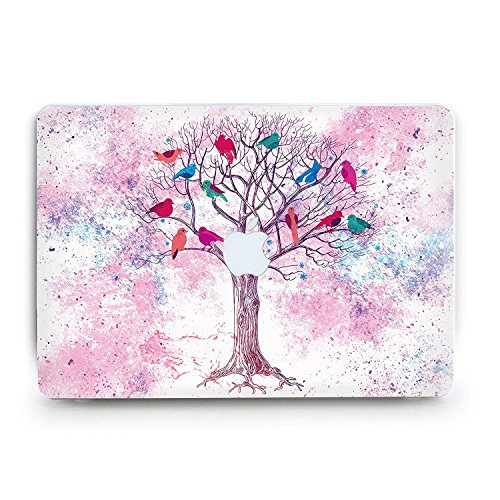 Printed Poppies Modern (Durable Laptop Case Art Designed Protective Cover for MacBook Laptop Modern Hard Case with Printed Bottom (Pro 15 (A1286) CD-Drive, Pink Tree))