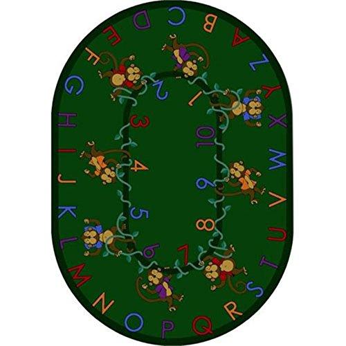 Joy Carpets Monkey (Joy Carpets Kid Essentials Early Childhood Oval Monkey Business Rug, Green, 10'9