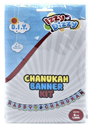 Chanukah Banner Kit - Color Your Own Happy Chanuka Sign - 6 Feet Long - Hanukah Arts and Crafts - Gifts and Games by Izzy 'n' Dizzy