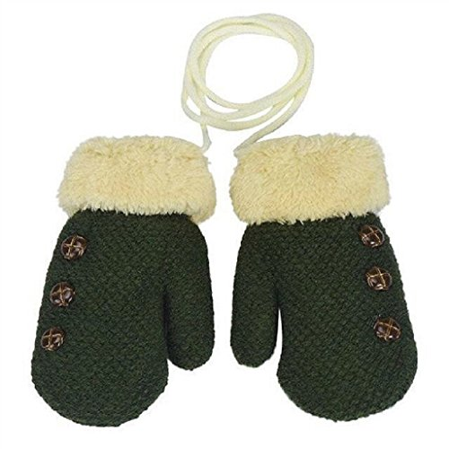 Auxma Por 0-4 años de edad,Guantes calientes de los niños muchachas de los bebés del niño de guantes de punto Guantes Leaf Verde