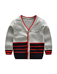 Tortor 1Bacha Little Boys' Striped Color Block Knit V-Neck Cardigan Sweater