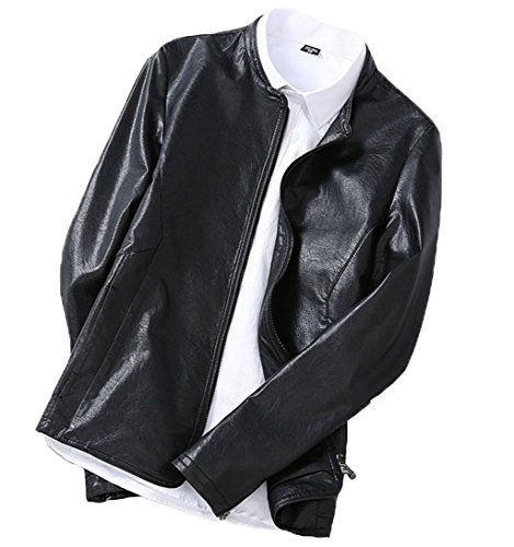 [Pinklily Men's Regular Fit Simple Solid Casual Faux Leather Coat Black 40] (Pirate Coat For Sale)