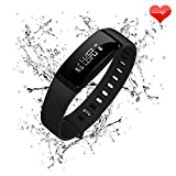 Fitness Tracker Heart Rate Monitor Blood Pressure Bracelet Sedentary Reminding Sleep Management Alarm SNS Call Reminder Pedometer Sport Activity Healthy Wristband with OLED Touch (Black 4)